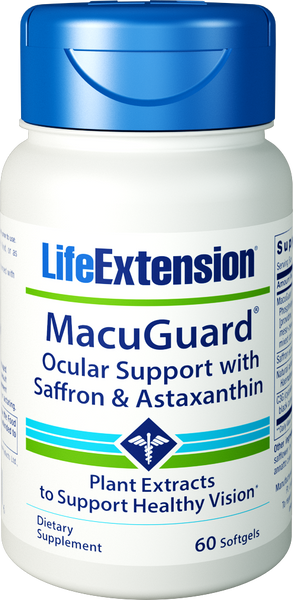 Life Extension MacuGuard Ocular Support with Saffron & Astaxanthin 60 softgels