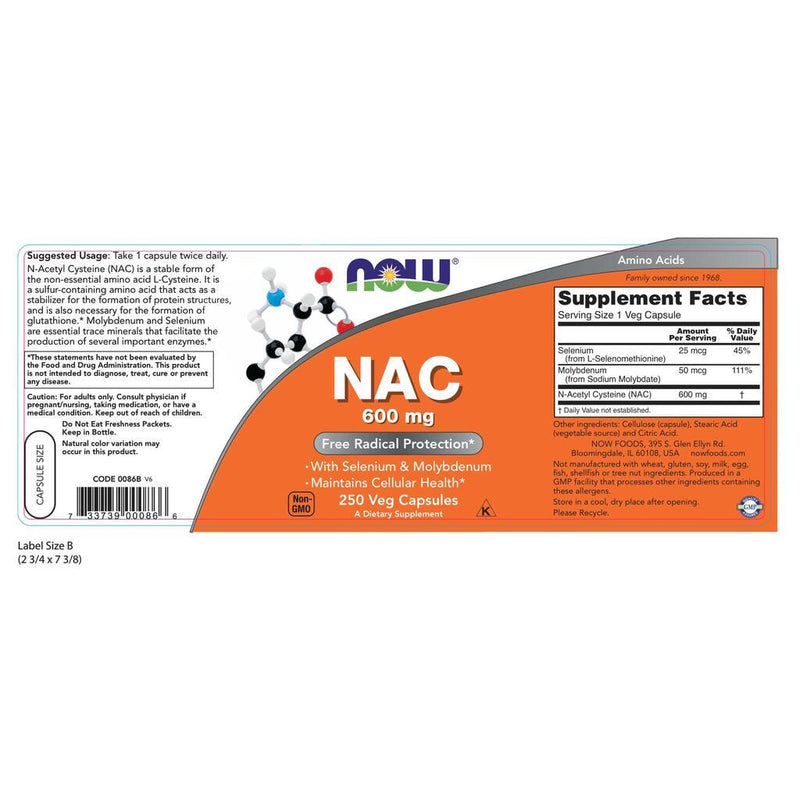 NOW Supplements NAC 600 mg - 100 Veg Capsules