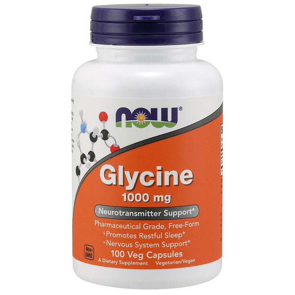 NOW Supplements Glycine 1000mg – 100 Veg Capsules