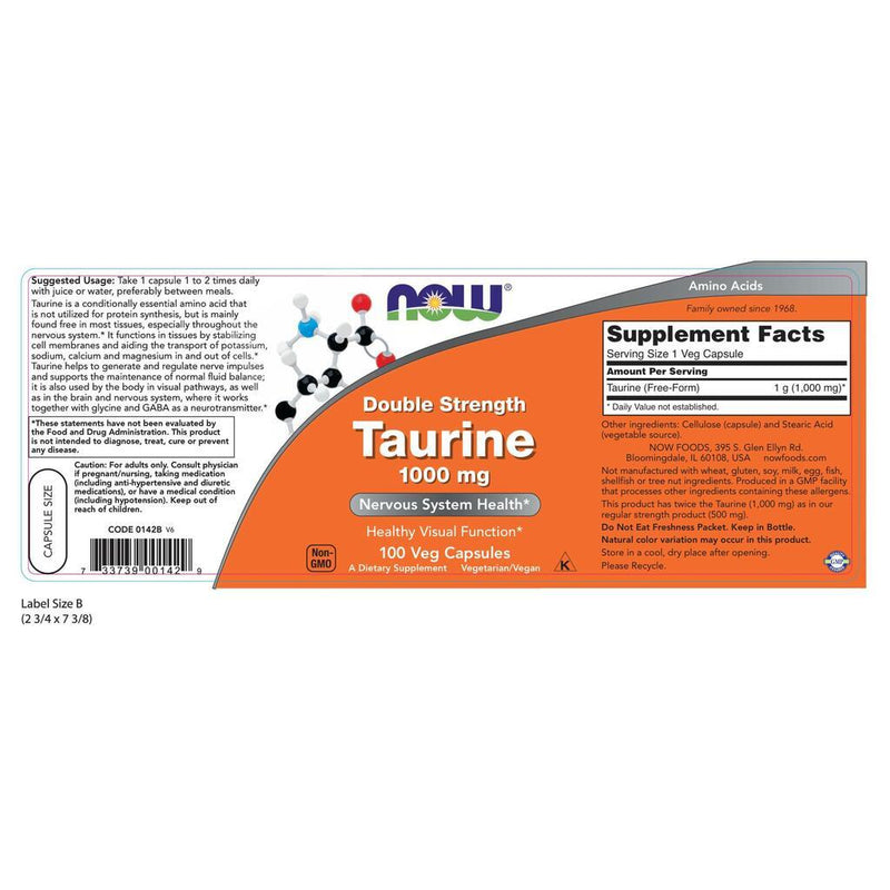 NOW Supplements Taurine, Double Strength 1000 mg – 100 Veg Capsules