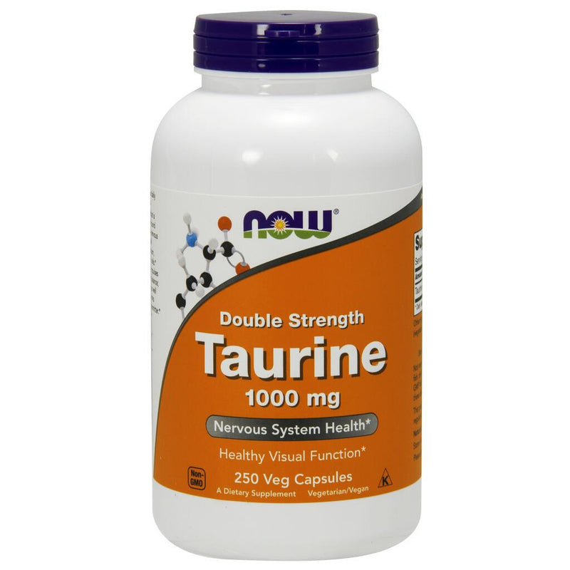 NOW Supplements Taurine, Double Strength 1000 mg - 250 Veg Capsules