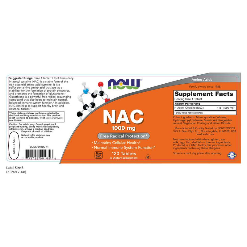 NOW Supplements NAC 1000mg – 120 Tablets