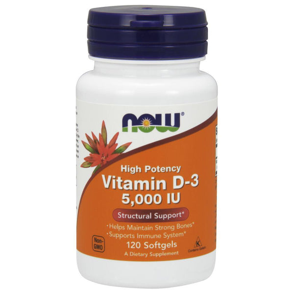 NOW Supplements High Potency Vitamin D-3, 5000 IU – 120 Softgels