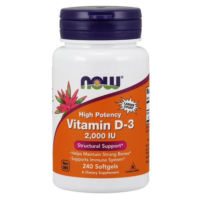 NOW Supplements High Potency Vitamin D3, 2000 IU – 240 Softgels