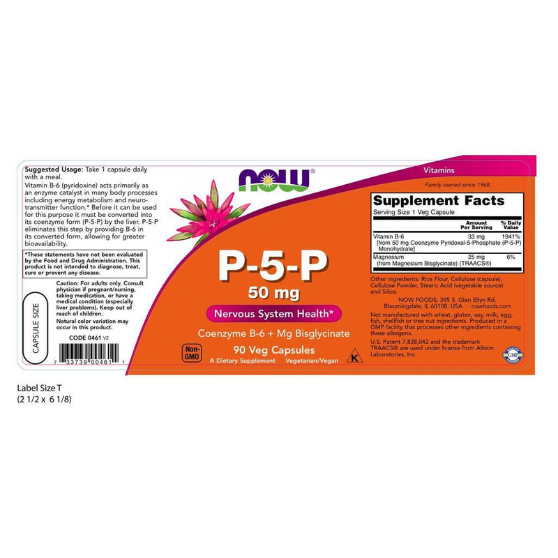 NOW Supplements P-5-P 50mg – 90 Veg Capsules