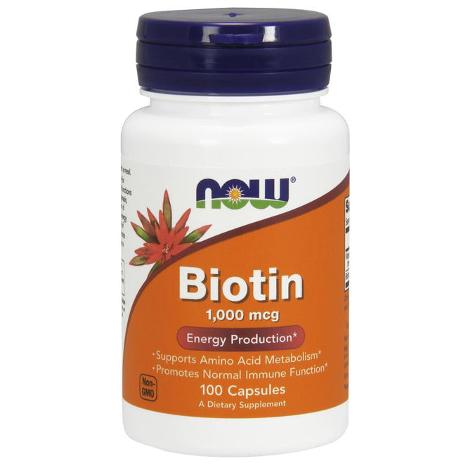 NOW Supplements Biotin 1000 mcg - 100 Veg Capsules