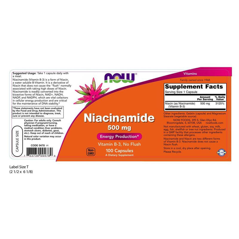 NOW Supplements Niacinamide (B-3) 500 mg - 100 Capsules