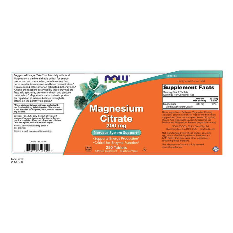 NOW Supplements Magnesium Citrate 200 mg - 250 Tablets