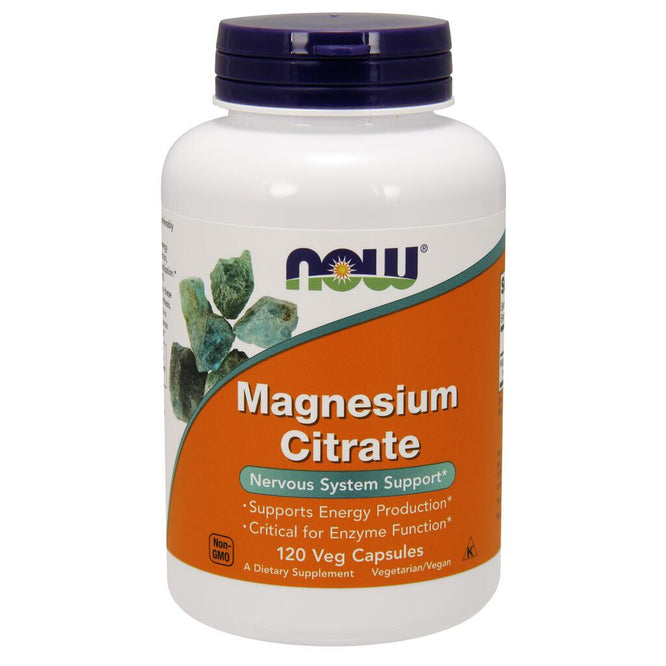 NOW Supplements Magnesium Citrate – 120 Veg Capsules