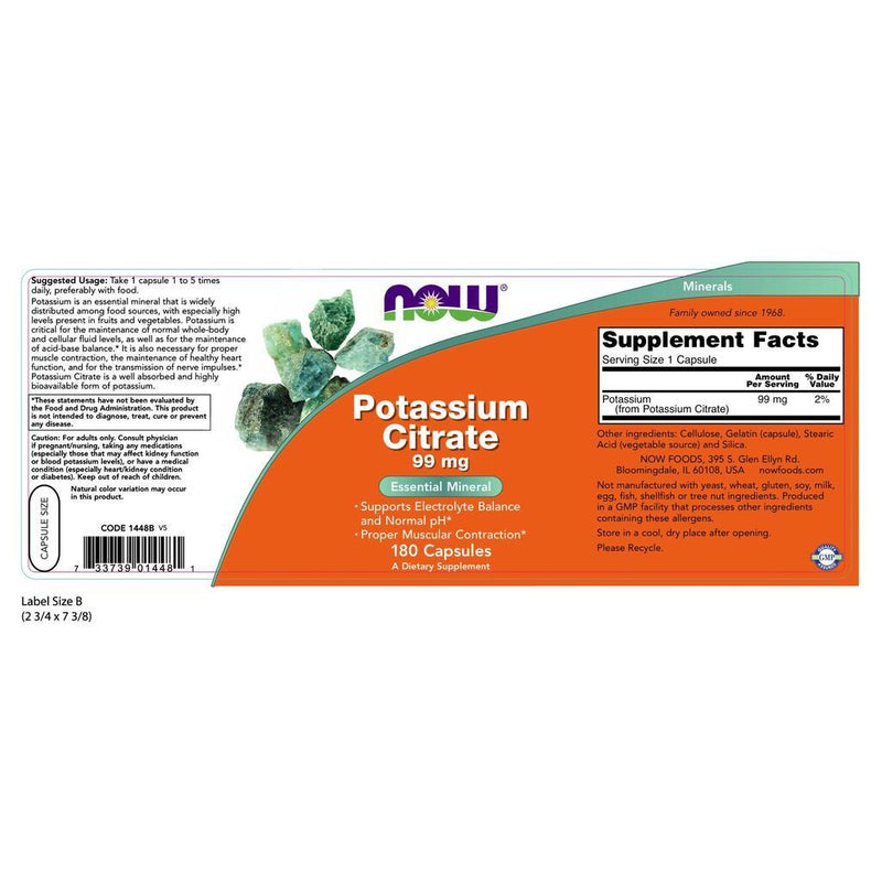 NOW Supplements Potassium Citrate 99 mg – 180 Veg Capsules