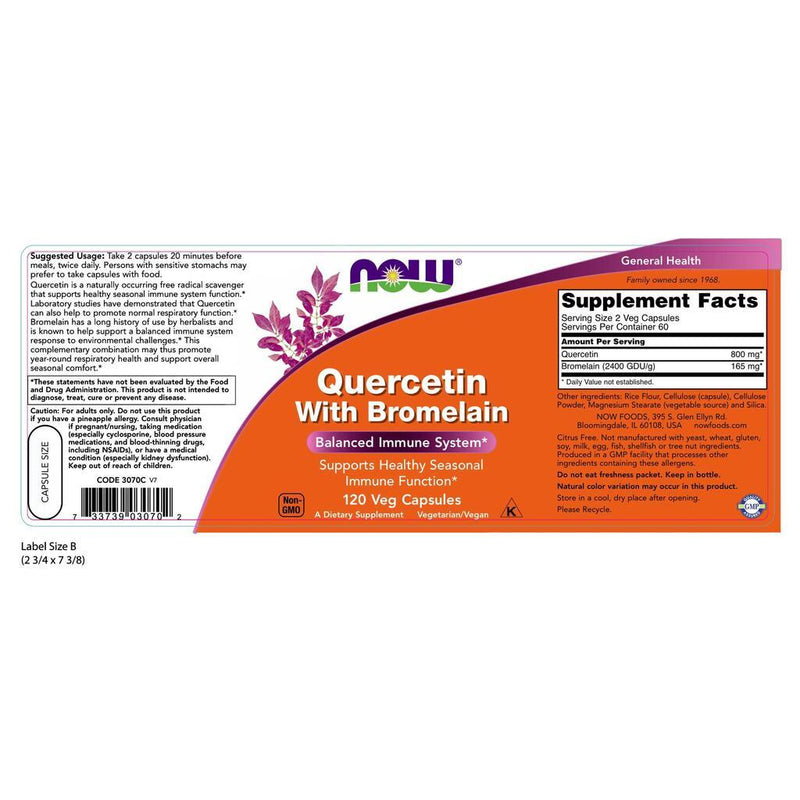 NOW Supplements Quercetin with Bromelain - 120 Veg Capsules