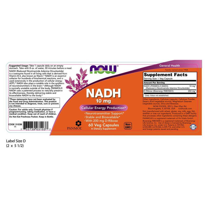 NOW Supplements NADH 10 mg - 60 Veg Capsules