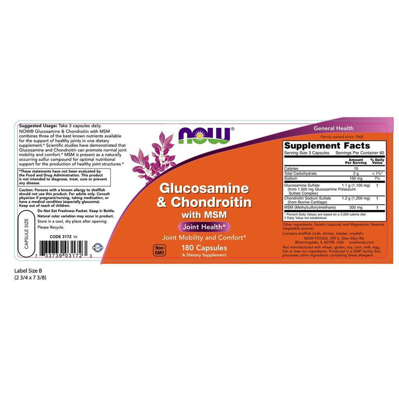 NOW Supplements Glucosamine & Chondroitin with MSM - 180 Capsules