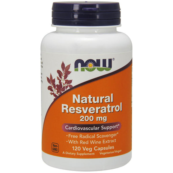NOW Supplements Natural Resveratrol 200 mg – 120 Veg Capsules