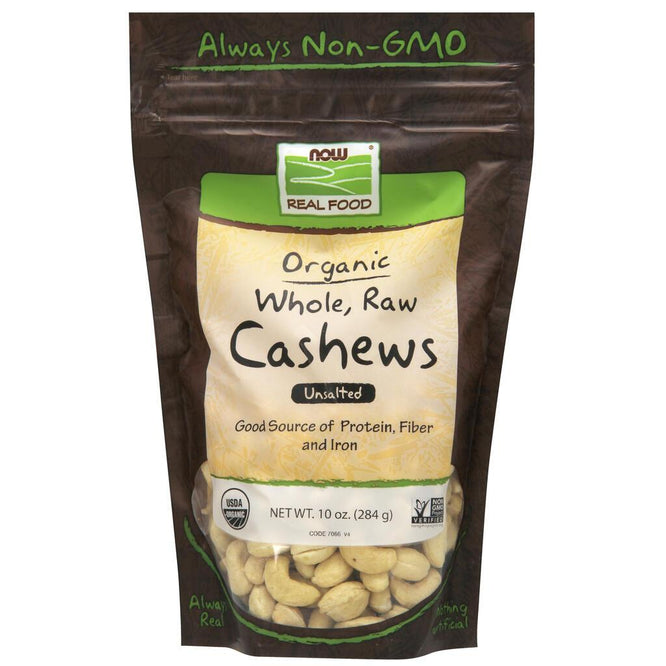 NOW Real Food Whole, Raw & Unsalted Cashews, Organic – 10 oz.