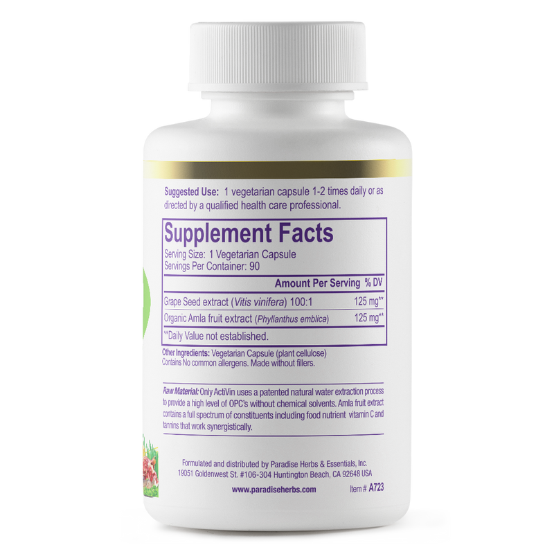 Paradise Herbs Activin Grape Seed Extract – 90 Vegetarian Capsules