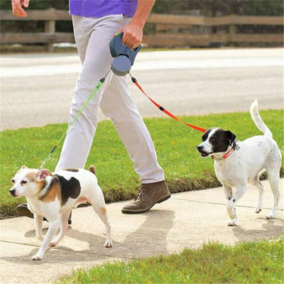 Automatic Retractable Walking Leash For Two Dogs Small And Large