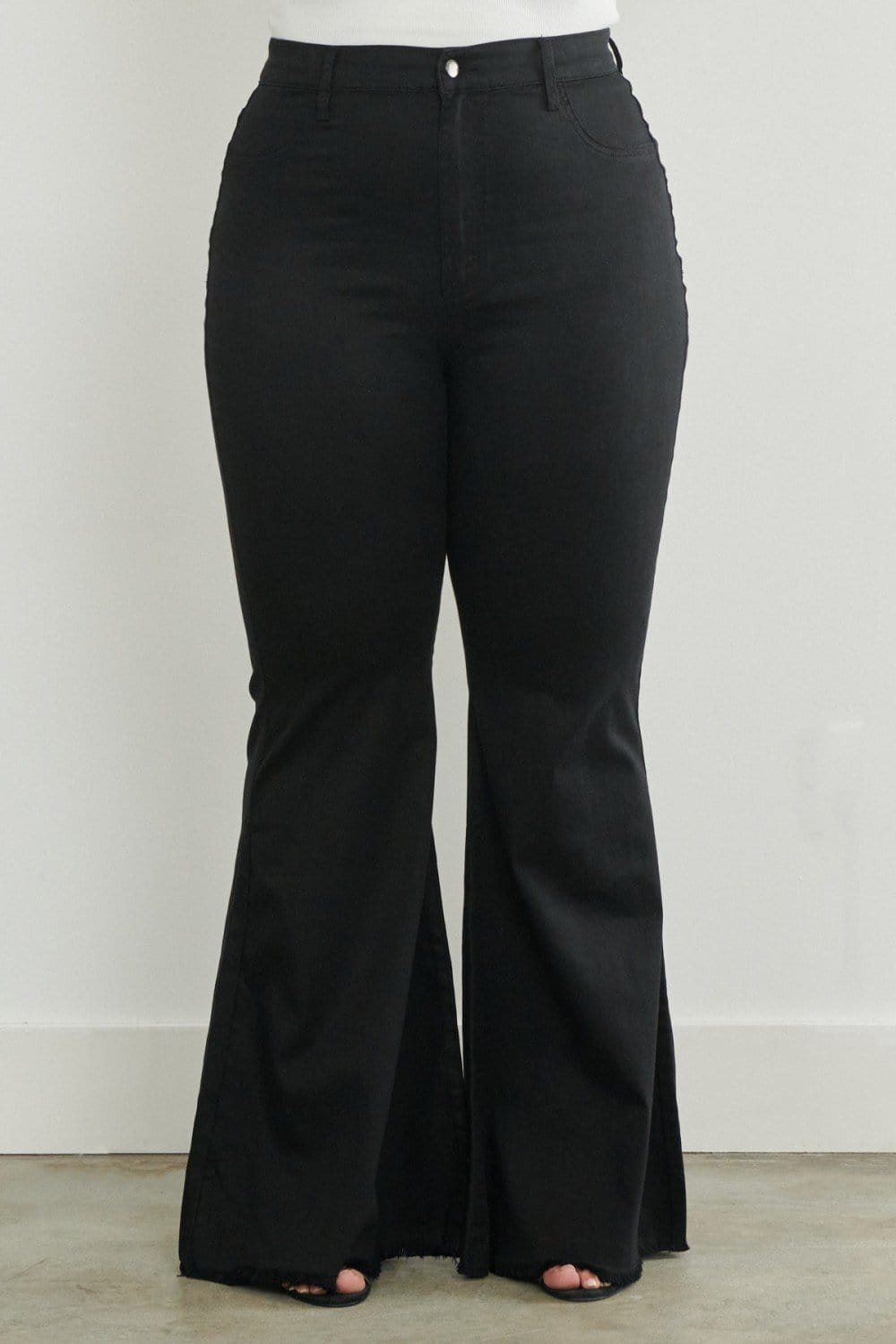 Plus Size Torn Flared Jeans, Black
