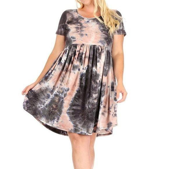 Tie dye dress with short sleeves and side pockets