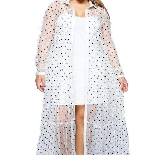 Jacket Plus Size Dotted Shirt Cardigan