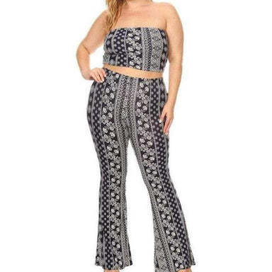 Posh Shoppe: Aztec print cropped tube top and high waist bell bottom pants