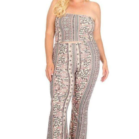 Aztec print cropped tube top and high waist bell bottom pants