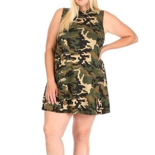 Camouflage print sleeveless dress with mock neckline