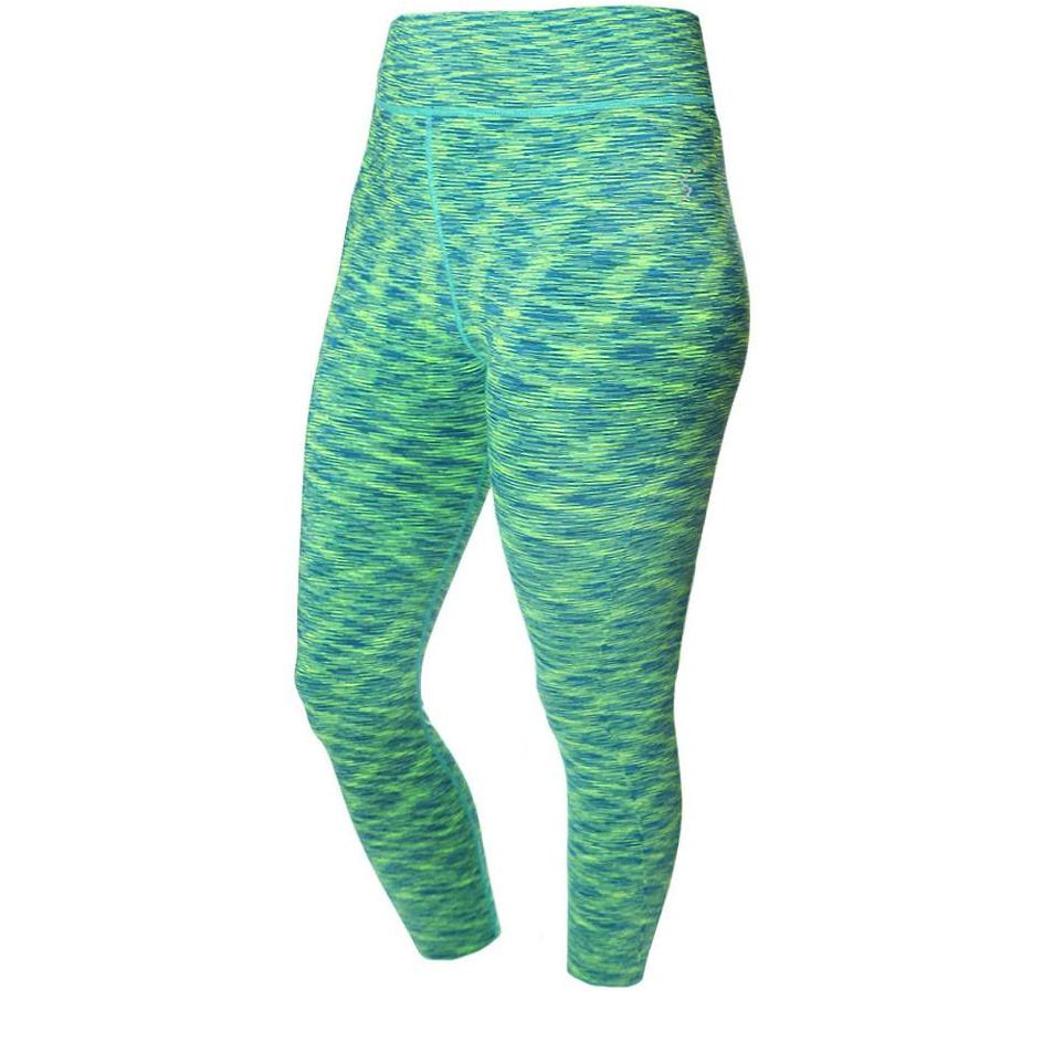 Posh Shoppe: Plus Size Space Dyed Active Capris, Green Bottoms