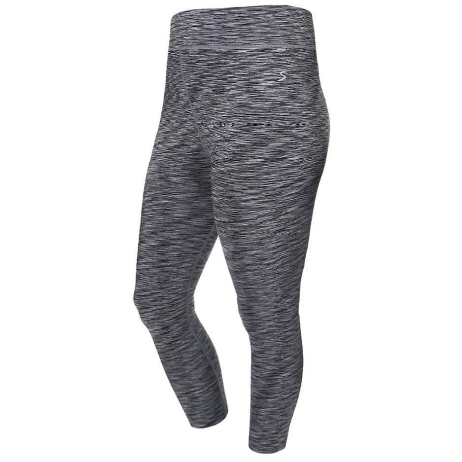 Posh Shoppe: Plus Size Space Dyed Active Capris, Gray Bottoms