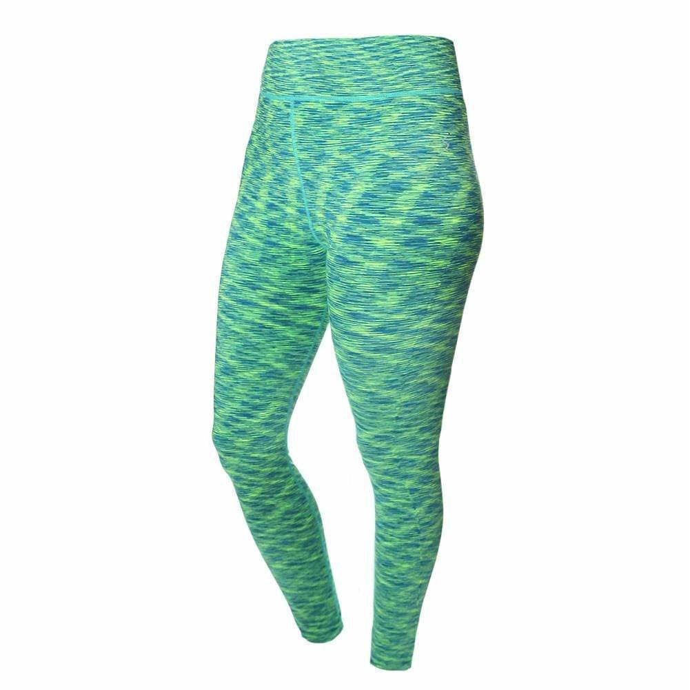 Posh Shoppe: Plus Size Space Dyed Active Pants, Green Bottoms