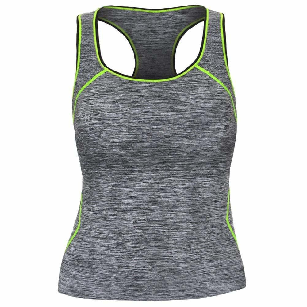 Posh Shoppe: Plus Size Active Tank, Space Dyed with Neon Yellow Trim Tops