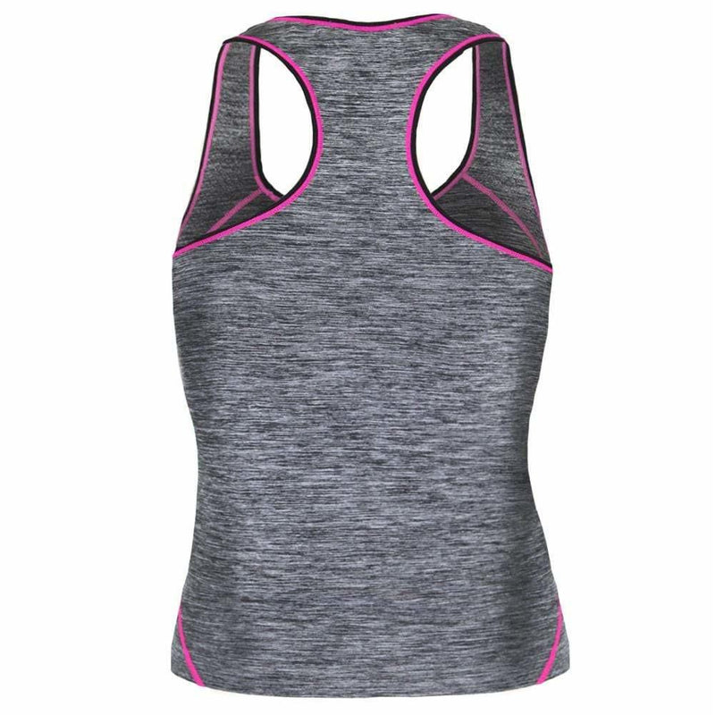 Posh Shoppe: Plus Size Active Tank, Space Dyed with Neon Pink Trim Tops