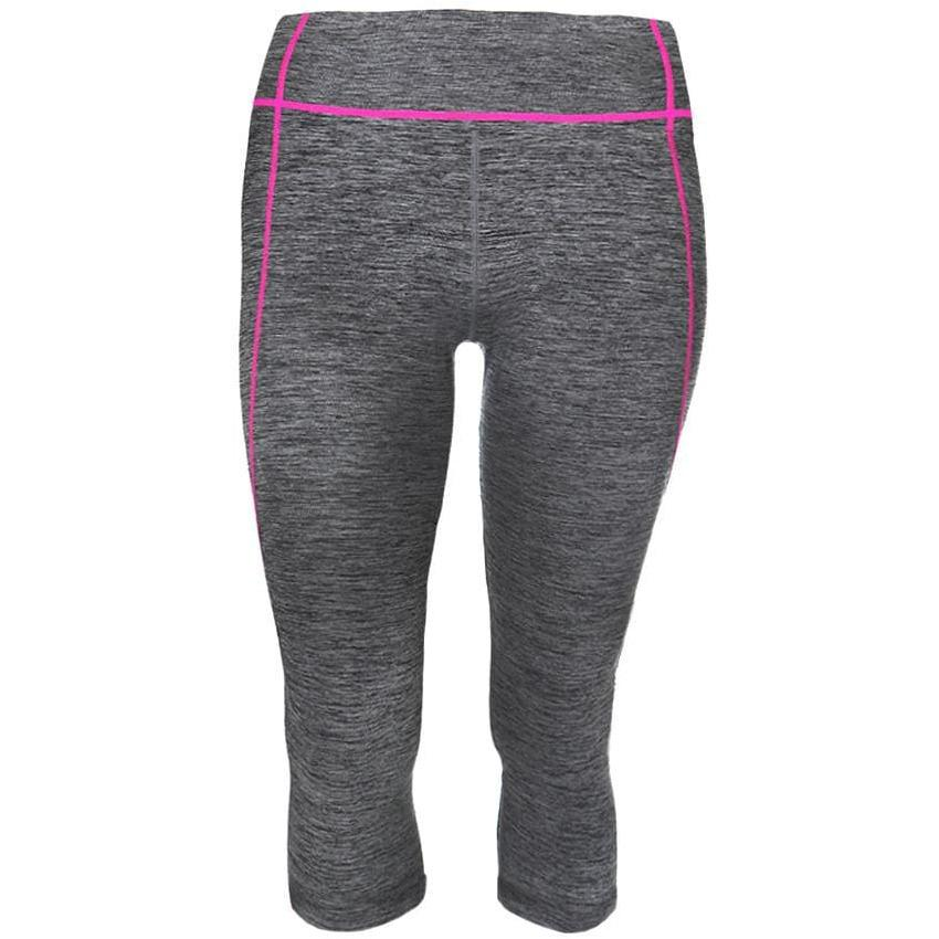 Posh Shoppe: Plus Size Active Capris, Space Dyed with Neon Pink Trim Bottoms