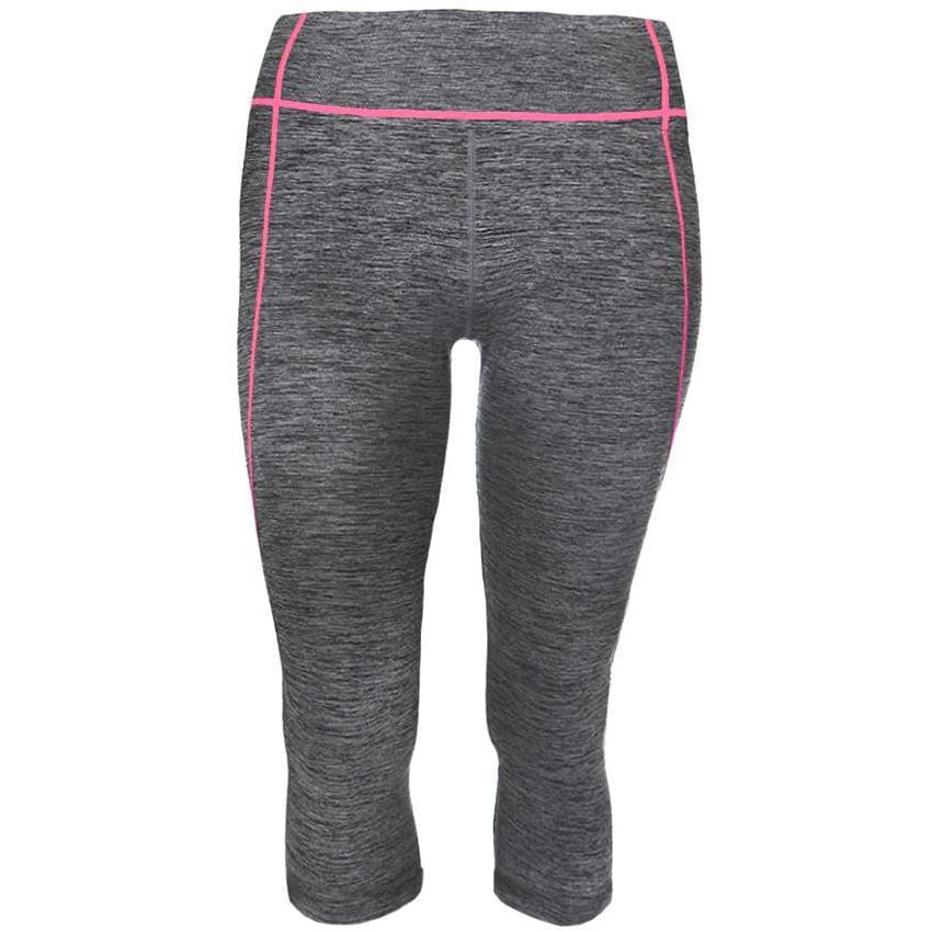 Posh Shoppe: Plus Size Active Capris, Space Dyed with Coral Trim Bottoms