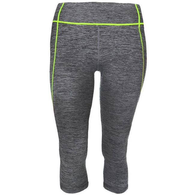 Posh Shoppe: Plus Size Active Capris, Space Dyed with Neon Yellow Trim Bottoms