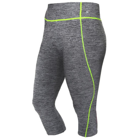 Plus Size Active Capris, Space Dyed with Neon Yellow Trim