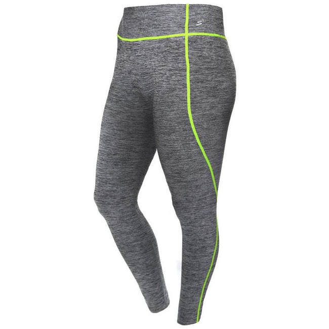 Posh Shoppe: Plus Size Active Leggings, Space Dyed with Neon Yellow Trim Bottoms