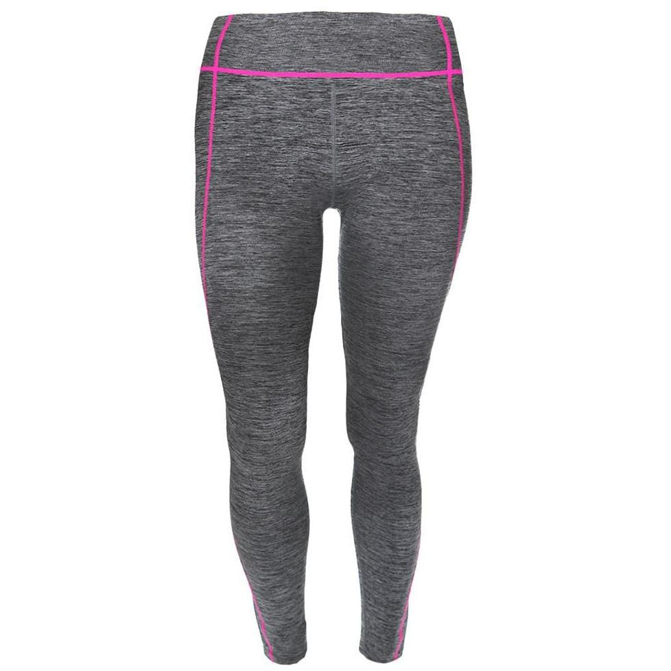 Posh Shoppe: Plus Size Active Leggings, Space Dyed with Neon Pink Trim Bottoms