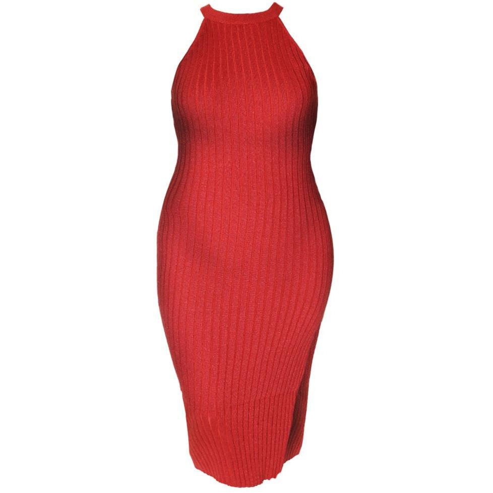 Plus Size Metallic Ribbed Knit Dress with Slit, Red