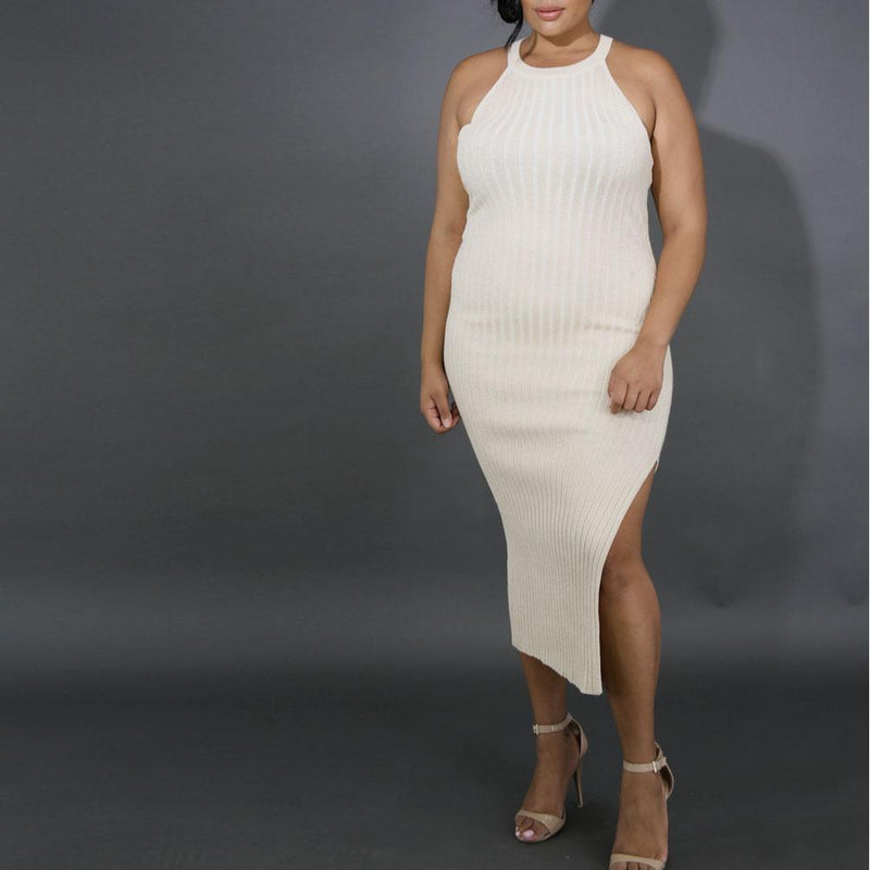 Plus Size Metallic Ribbed Knit Dress with Slit, Gold