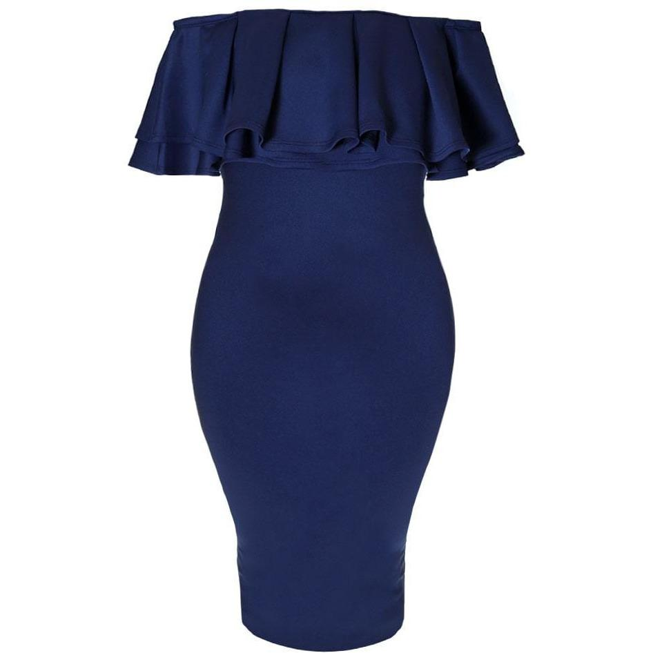 Plus Size Off the Shoulder Ruffle Midi Dress, Navy