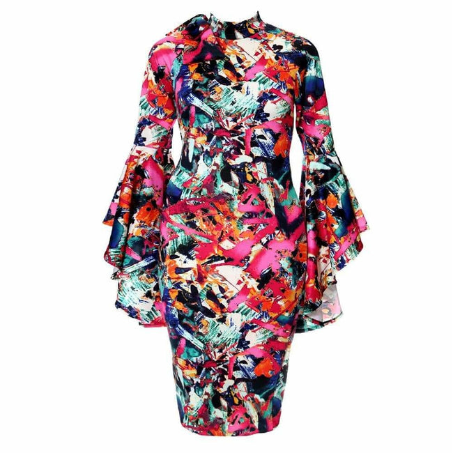 Plus Size Brushstroke Midi Dress with Bell Sleeves and Accent Bow