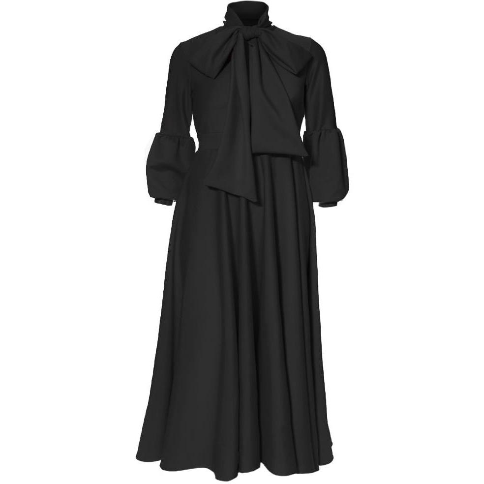 plus size puff sleeve maxi dress with tie neck black posh shoppe