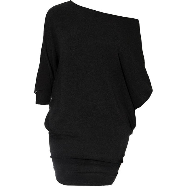 Plus Size Bias Draped Sweater Dress, Black