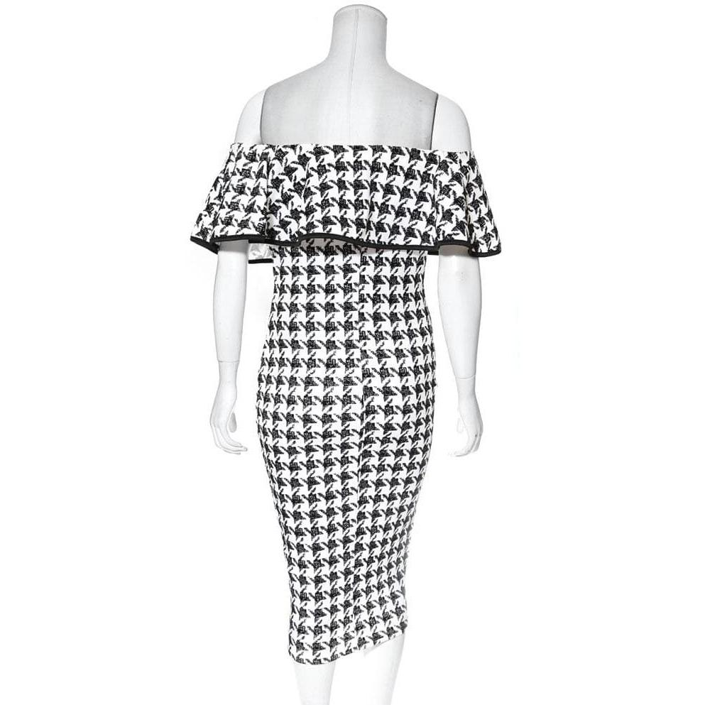 Plus Size Off the Shoulder Ruffle Houndstooth Midi Dress