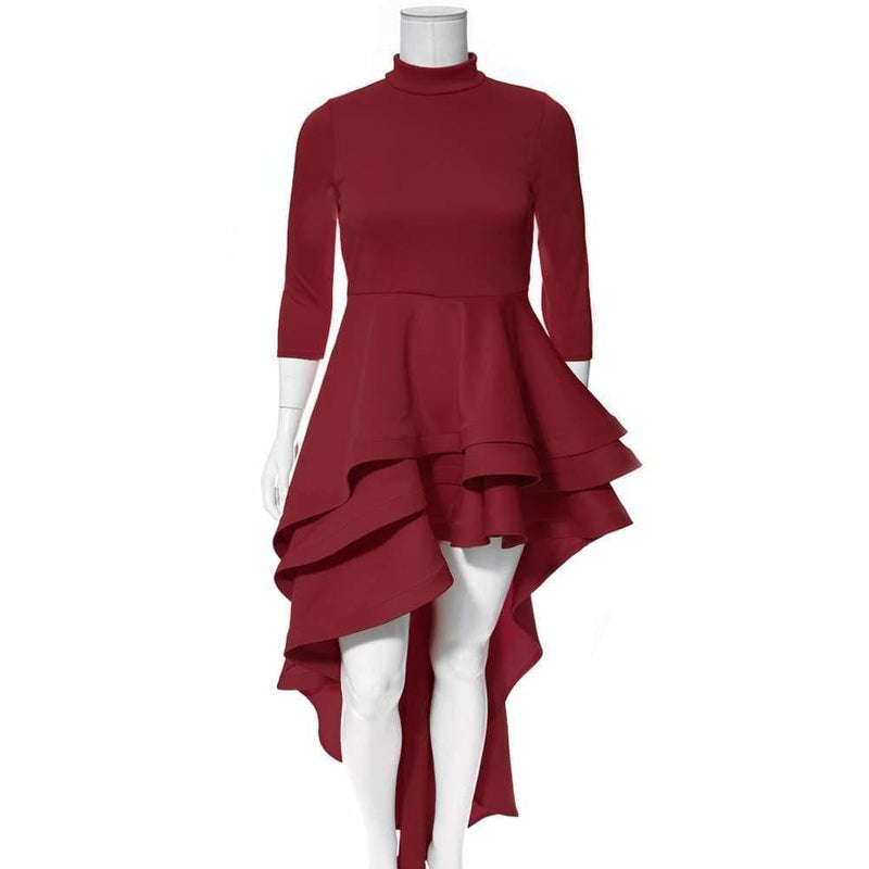 Posh Shoppe: Plus Size Ruffle Front Mock Neck Dress, Burgundy Dress