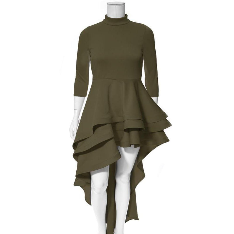Posh Shoppe: Plus Size Ruffled Hi Low Dress, Olive Dress