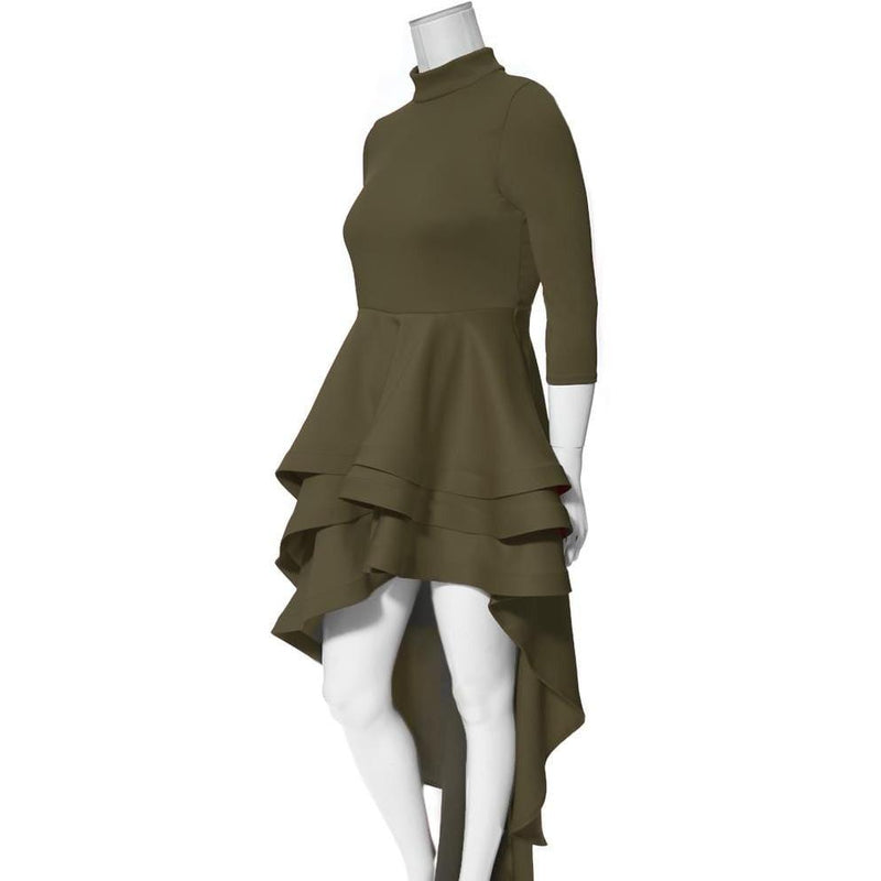Posh Shoppe: Plus Size Ruffle Front Mock Neck Dress, Olive Dress