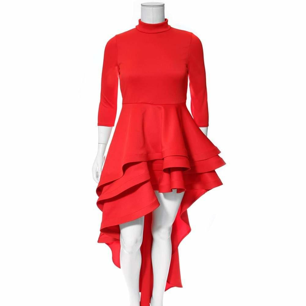 Posh Shoppe: Plus Size Ruffle Front Mock Neck Dress, Red Dress