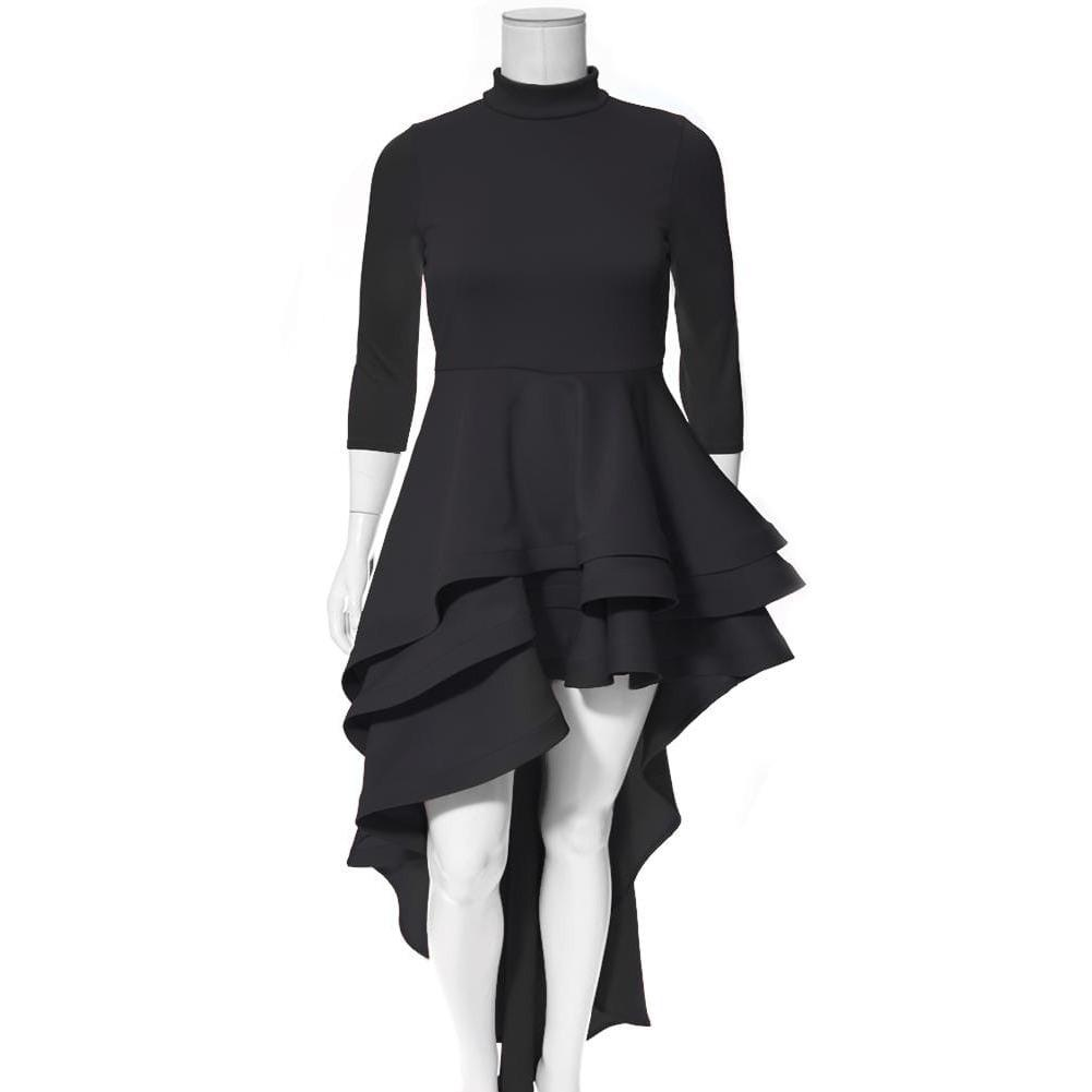 Posh Shoppe: Plus Size Ruffle Front Mock Neck Dress, Black Dress